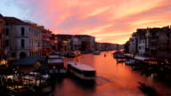 famous grand canal from Rialto Bridge at sunset, Venice, Italy video