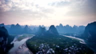 Famous mountain and river scene of Guilin, time lapse. video