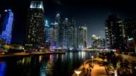 famous place River Walk And Dubai Marina with skyscraper video