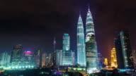 famous towers night light panorama 4k time lapse from kuala lumpur video