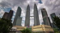 famous towers of kuala lumpur day light 4k time lapse video