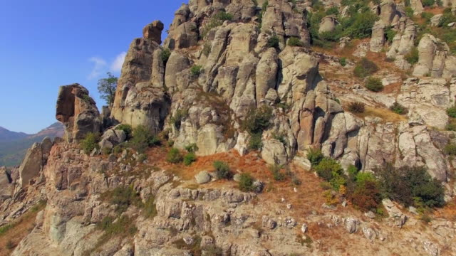 AERIAL VIEW. Famous Valley Of Ghosts At Mountain Demerji In Crimea video
