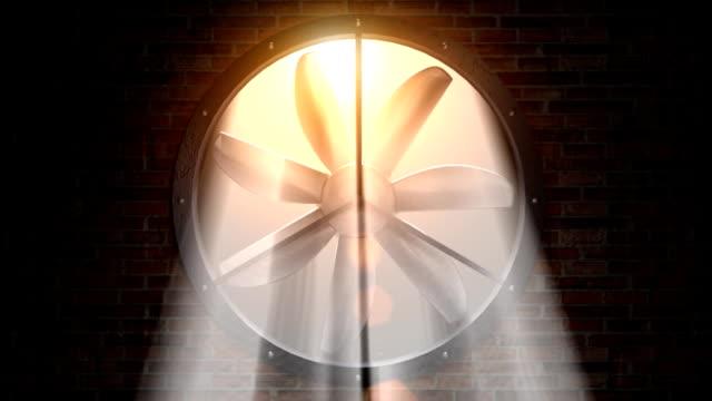 fan rotating front in sunlight video