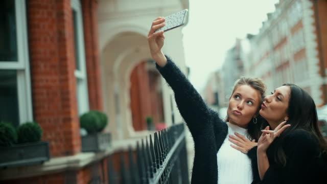 Fancy women in London take a selfie video
