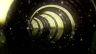 Fantastic Gold Wood Tunnel With Particles Seamless Looping Background video