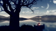 Fantastic landscape. Lake and moon video