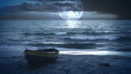 Fantastic landscape video background. Moonlight at the sea / ocean video