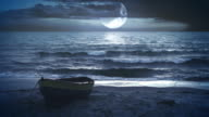 Fantastic landscape video background. Moonlight at the sea or ocean video