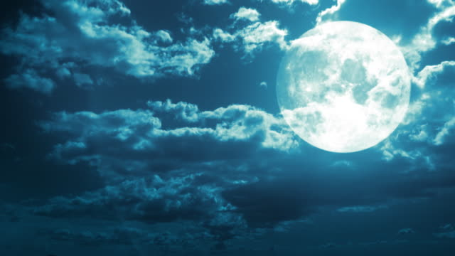 Fantastic sky background. Moon behind the clouds. Timelapse. HD video