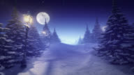 Fantastic winter landscape blue tinted center space for content video