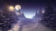 Fantastic winter landscape purple tinted center space for content video