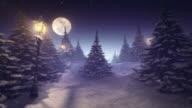 Fantastic winter landscape purple tinted video