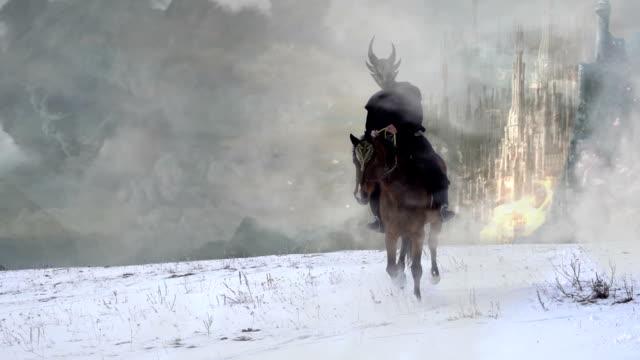 fantasy horserider in slowmotion video