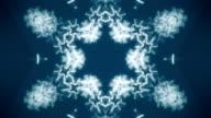 Fantasy kaleidoscopic pattern like snowflake in blue colors. video