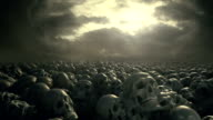 Fantasy style field of skulls with overcast sky. Track shot. Ancient cemetery of battleground. video