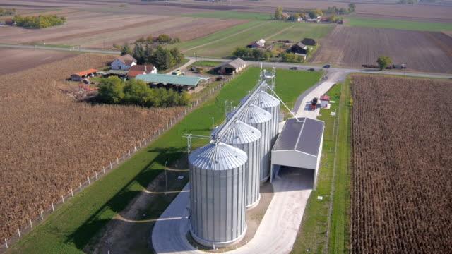 Farm silo aerial view video