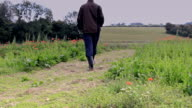 Farmer checking on crops video