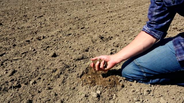 Farmer checking soil through his fingers - 2 shots video