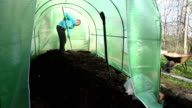 Farmer man level soil with raker tool in greenhouse. video