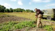 Farmer mows the grass. video