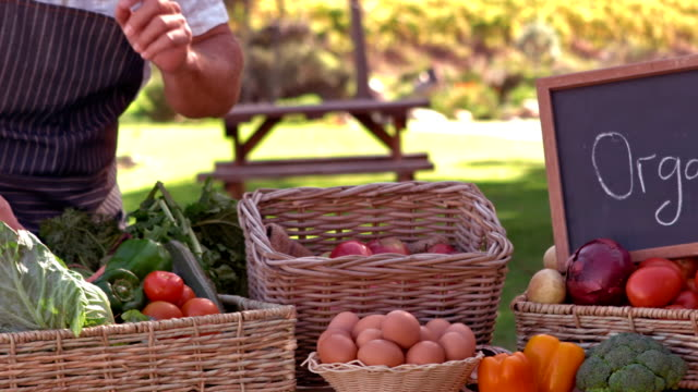 Farmer searching for carrot in slow motion video