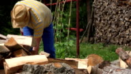 farmer split hard wood with axe in country near woodshed. FullHD video