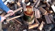 Farmer splitting log video