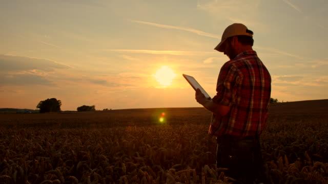 WS DS Farmer Using A Digital Tablet In Field video