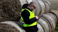 Farmer walking and using tablet PC near the hay bales video