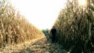 HD DOLLY: Farmer Walking With Child In Corn Field video
