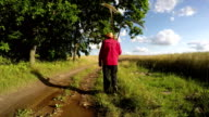 farmer with scythe and rake on rural road in summer time video