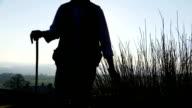 Farmers hand running through long grass video