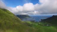 Farming village on Lofoten islands, aerial view video