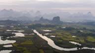 Farmland and karst landform dusk,xingping,yangshuo,guilin,china video