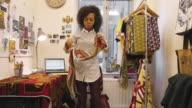 Fashion designer at work in her studio video