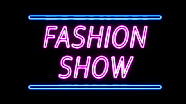 Fashion Show Neon Sign in Retro Style Turning On video