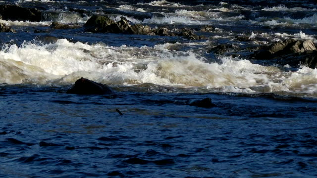 Fast flowing water on a Scottish river video