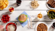 Fast food with fresh vegetables. video