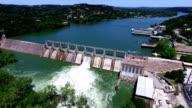 Fast Motion Aerial Open the Flood Gates Colorado River Dam Aerial View Austin Texas video