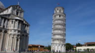 Fast motion of tourist visiting The Leaning Tower in Pisa video