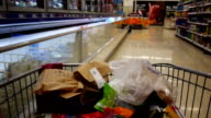 Fast motion supermarket trolley video