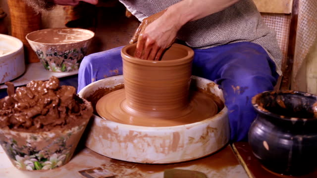 Fast motion video of crockery creation process video