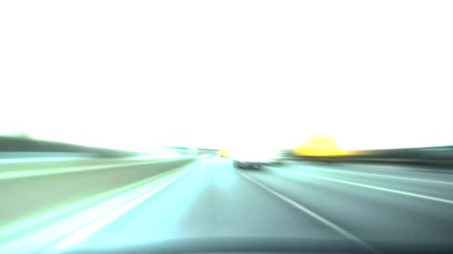Fast motorway driving pov glow. HD video
