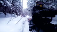Fast Snowmobile Driver POV Side View video