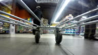 Fast speed of supermarket trolley video