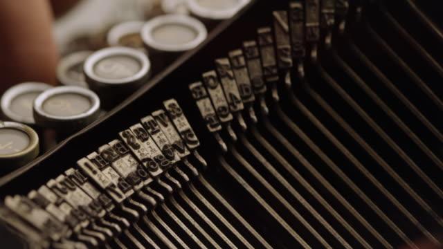 LD Fast striking type bars of old typewriter video