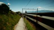 fast train passing vineyard in Switzerland video
