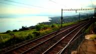 fast train passing vineyard near Lac Leman video