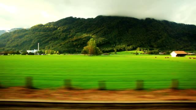 Fast train travelling in Switzerland video