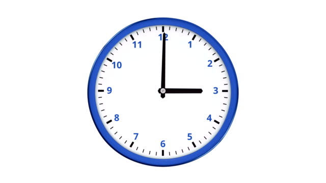 Fast turning clock hands in the blue clock. video